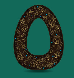 letter o with golden floral decor vector image vector image
