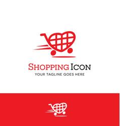love to shop heart shopping cart logo vector image vector image