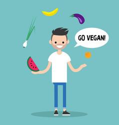 Modern lifestyle go vegan young bearded man vector