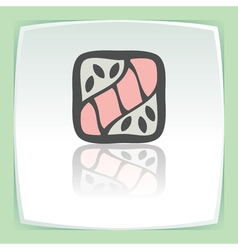 outline sushi roll with raw fish japan food icon vector image vector image