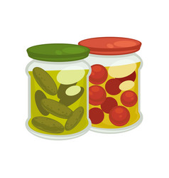 pickled tomatoes and cucumbers vector image