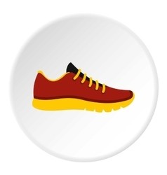 Red sneakers with yellow sole icon flat style vector
