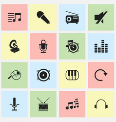 set of 16 editable music icons includes symbols vector image