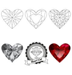 Set of heart cut jewel views vector image vector image