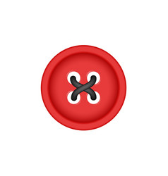 Sewing button in red design with sewing thread vector