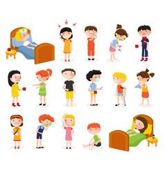sick children doodle set vector image vector image