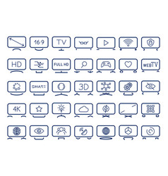 Smart tv icons set flat design vector