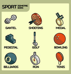 sport color outline isometric icons vector image vector image