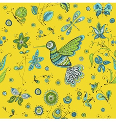 Spring summer doodles - bird butterflies flowers vector