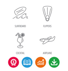 Surfboard waves and cocktail icons vector