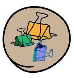 Three Binder Clip on Round Brown Background vector image
