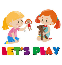 two girls playing with dolls vector image