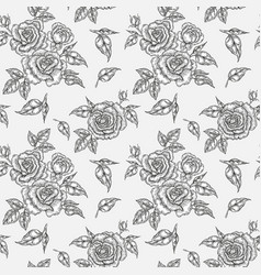 Vintage rose flowers buds and leaves seamless vector