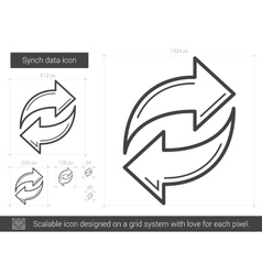 Synch data line icon vector