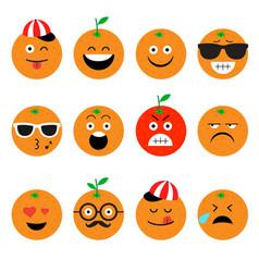 Emojis orange fruit summer set of emotional vector