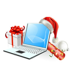 christmas laptop computer vector image