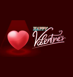 Valentine red heart spotlight background vector