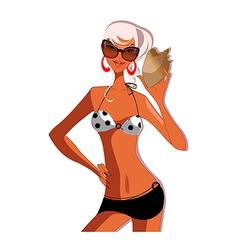 Stylish beach girl vector