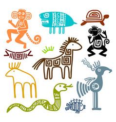 Aztec and maya ancient animal symbols vector