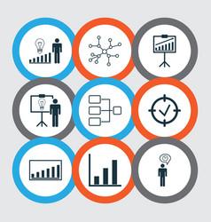 Set of 9 management icons includes conversation vector