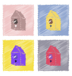 Collection of flat shading style icons bird house vector