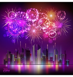Holiday firework and night city vector