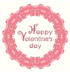 Happy valentines day card with pink abstract frame vector