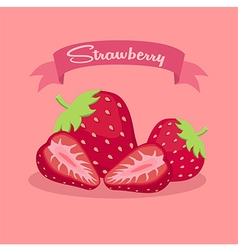 Strawberry slice fruit banner vector