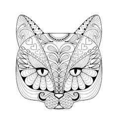 Zentangle cat print for adult coloring page vector