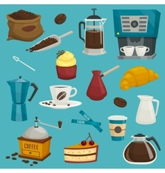 Coffee objects icons cupcroissantcakepot vector