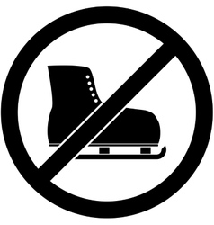 No ice skate ice-skate prohibited symbol vector
