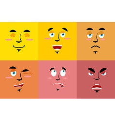 Set of cartoon face with emotions red evil vector