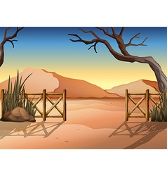 A desert with a fence vector