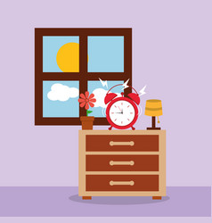 Alarm clock on bedside table alert morning window vector