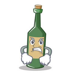 Angry wine bottle character cartoon vector