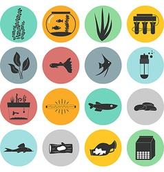 Aquarium icons vector