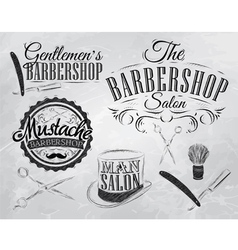 Barbershop set chalk coal vector