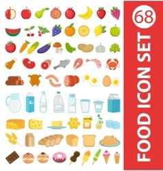 Big set icons food flat style Fruits vegetables vector image vector image