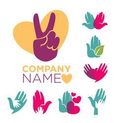charity company emblems set with colorful human vector image