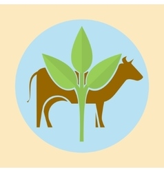 Cow silhouette and green leaves vector image