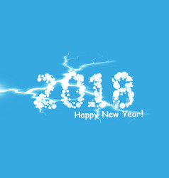 creative happy new year 2018 design with lightning vector image