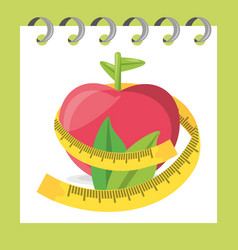 Delicious healthy apple with leaves and measuring vector
