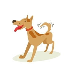 Excited brown pet dog wants to play animal vector