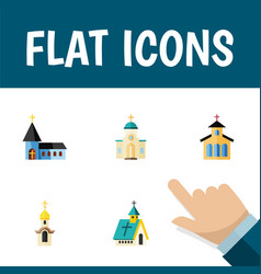 Flat icon christian set of religious structure vector