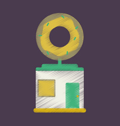 flat icon in shading style donut shop vector image