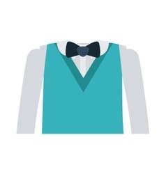 Formal suit with bowtie and long sleeves vector