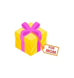Gift box with pink ribbon and for mom card icon vector