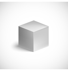 Grey cube on white background vector image vector image