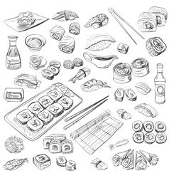 Hand drawn sushi set vector