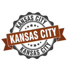 kansas city round ribbon seal vector image vector image